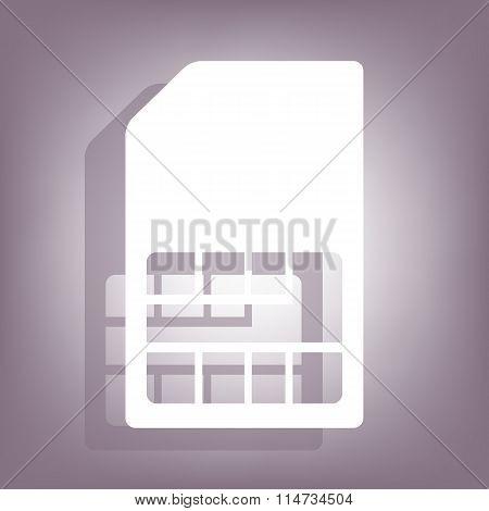Sim card icon with shadow