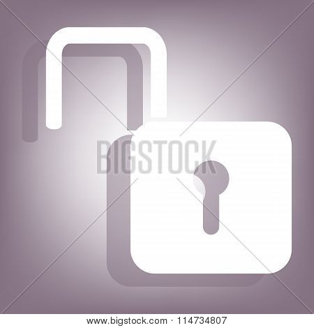 Unlock icon with shadow