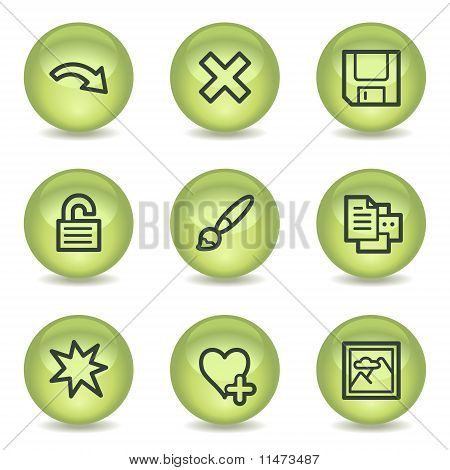 Image Viewer Web Icons Set 2, Green Glossy Circle Buttons