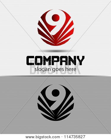 9, Number seven logo, symbol, icon, graphic, flat vector design template element