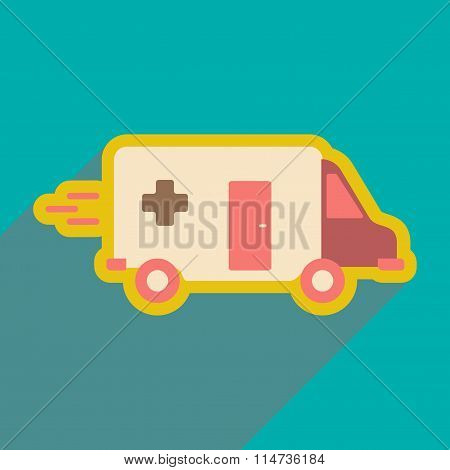 flat icon with long shadow ambulance car