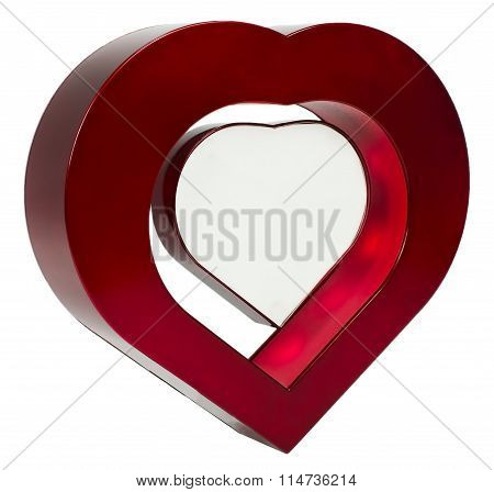 Red heart photo frame on isolaed white background