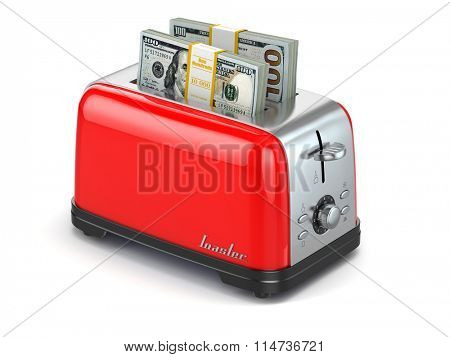 Toaster baking dollars. Financial business concept. 3d