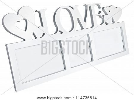White photo frame with hearts on isolaed  background