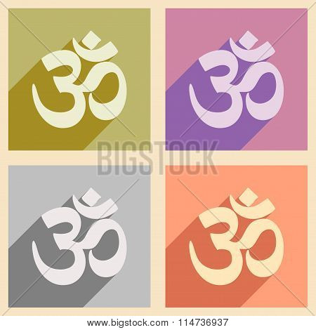 Modern flat icons collection with long shadow Indian om sign