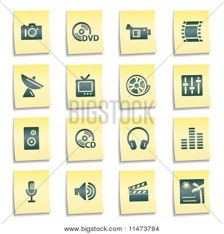 Media Web Icons, Yellow Notes Stickers