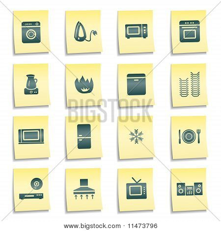 Home Appliances Web Icons, Yellow Notes Stickers