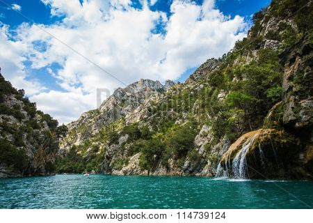 The slopes of the canyon dramatically narrowed in the Upper Verdon. Mercantour National Park, Provence