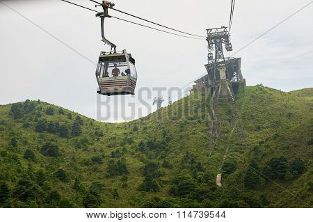 HONG KONG - MAY 11, 2012: Ngong Ping 360 cable car. The Ngong Ping 360 is a tourism project on Lantau Island in Hong Kong.