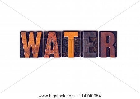 Water Concept Isolated Letterpress Type