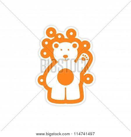paper sticker on white background northern bear
