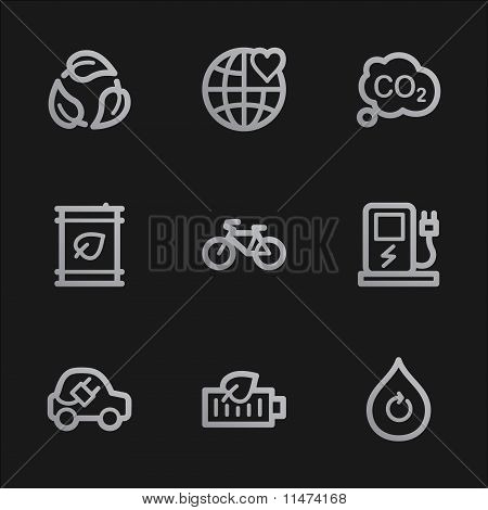 Ecology Web Icons Set 4, Grey Mobile Style