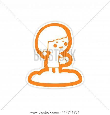 paper sticker on white background child playing snowballs