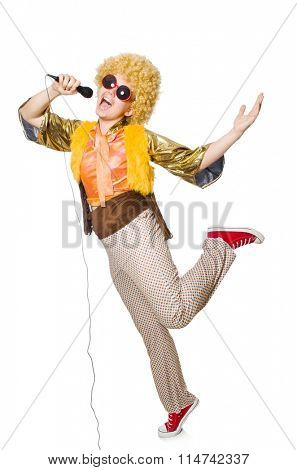 Man with afrocut and mic isolated on white