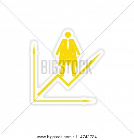 stylish sticker on paper man economic schedule