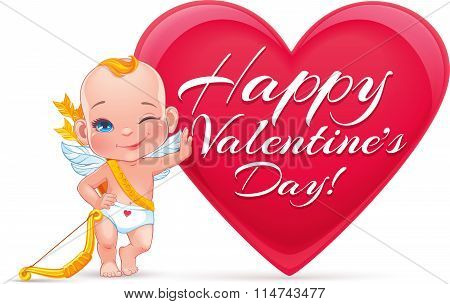 Vector Valentine's card with little Cupid