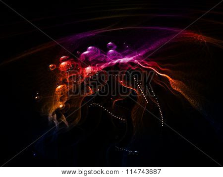 Computer graphics abstract background. Magical composition of colored smoke traces over black