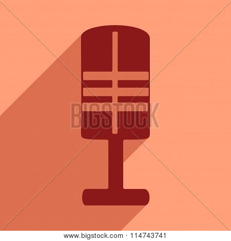 Flat icon with long shadow musical microphone