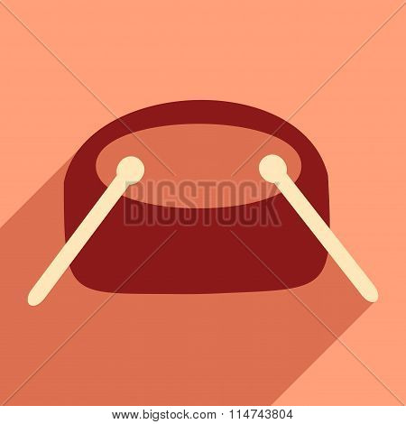 Flat icon with long shadow drum and sticks