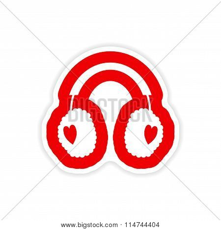 paper sticker on white background earmuffs hearts