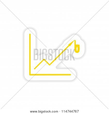stylish sticker on paper Economic graph on a white background