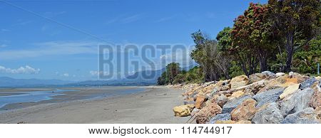 Collingwood Beach At Low Tide Panorama, New Zealand