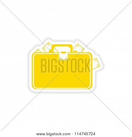 stylish sticker on paper case full of money
