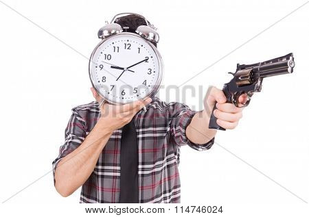 Employee holding alarm clock and weapon isolated on white