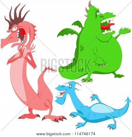 singing different colored dragons