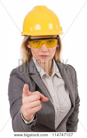 Construction employee wearing protective glasses isolated on whi