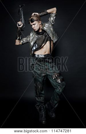 Woman in brutal style clothes