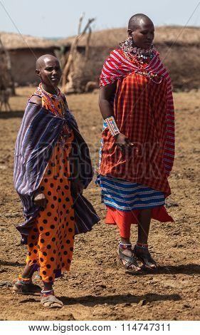 Masai women dancing in the village