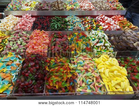 Sweets Stalls At Machane Yehuda Market. Jerusalem, Israel.