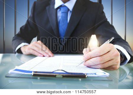 Businessman Signing Application Form Suit Concept