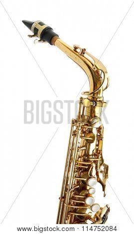 Golden saxophone isolated on white background, close up