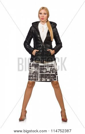 Pretty woman in bologna jacket isolated on white