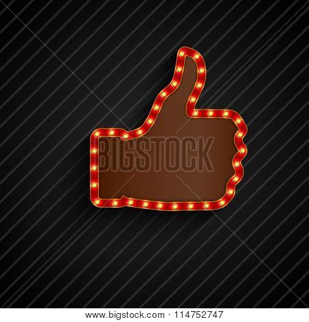 The thumbs background symbol glowing with bulbs