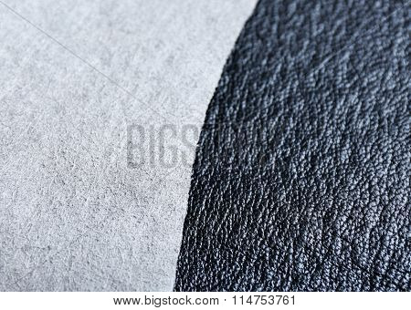 Grey leather front and wrong side texture background