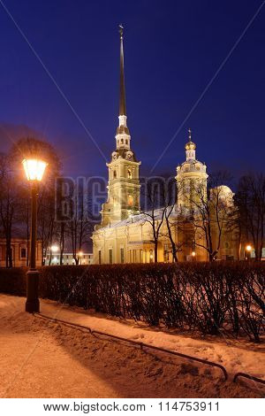ST. PETERSBURG, RUSSIA - JANUARY 4, 2016: Night view to St. Peter and Paul Cathedral in winter. Built between 1712 and 1733, it is the first and oldest landmark in St. Petersburg