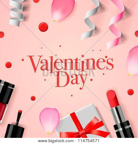 Valentines Day greeting card with gift box, cosmetics, lipstick, nail, and rose flower petals, vecto