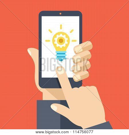 Lightbulb on smartphone screen. Flat design vector illustration