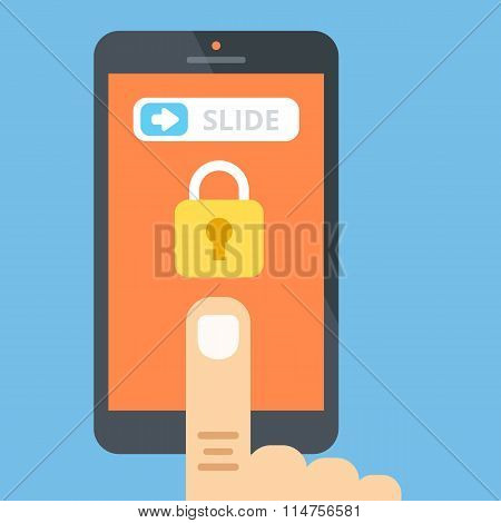 Unlock smartphone. Slide to unlock concept. Vector flat illustration