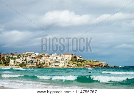 Surfer In The Waters Of Bondi Beach