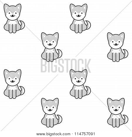Black And White Seamless Pattern With A Cute Shiba Inu Puppy