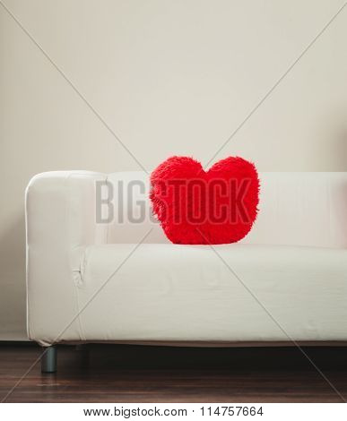 Heart Shape Pillow On Sofa. Valentines Day Love.