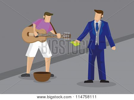 Rich Man Giving Money To Busker Vector Illustration