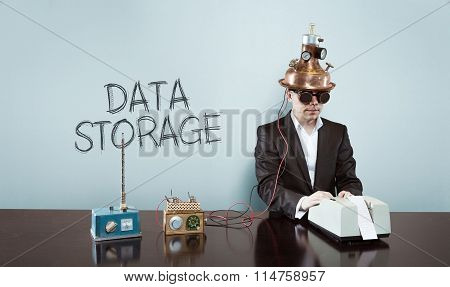 Data storage concept with vintage businessman and calculator