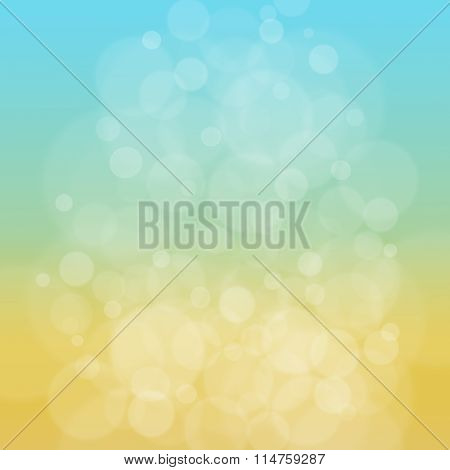 Abstract blurred yellow blue bokeh defocused summer background. Raster illustration.