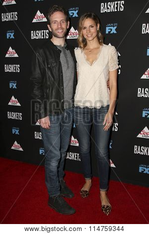 vLOS ANGELES - JAN 14:  Glenn Howerton, Jill Latiano at the Baskets Red Carpet Event at the Pacific Design Center on January 14, 2016 in West Hollywood, CA