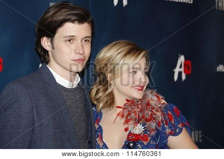 vLOS ANGELES - JAN 14:  Nick Robinson, Chloe Grace Moretz at the The 5th Wave Los Angeles Premiere at the Pacific Theatres At The Grove on January 14, 2016 in Los Angeles, CA